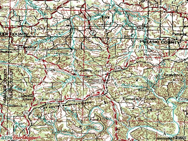 Zip code 65452 topographic map