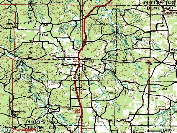 Zip code 65462 topographic map
