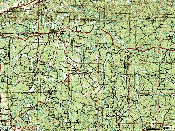 Zip code 65565 topographic map