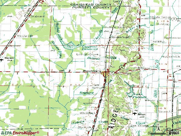 Zip code 72432 topographic map