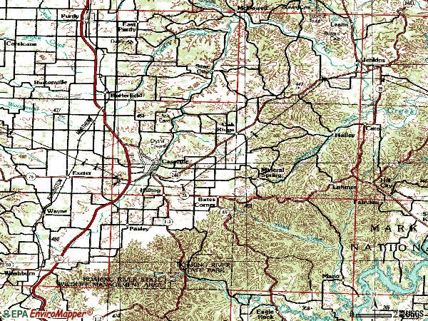 Zip code 65625 topographic map