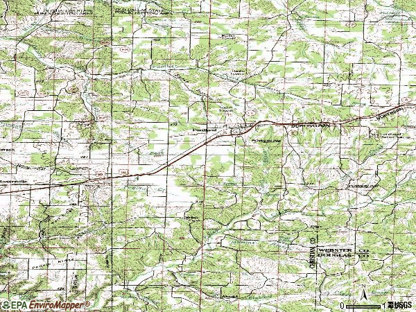 Zip code 65652 topographic map