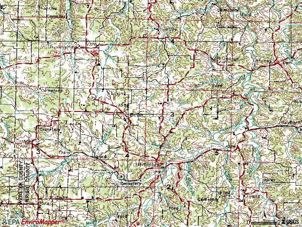 Zip code 65667 topographic map