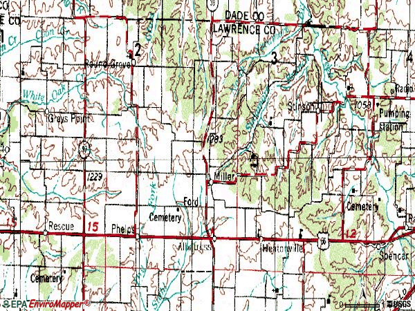 Zip code 65707 topographic map