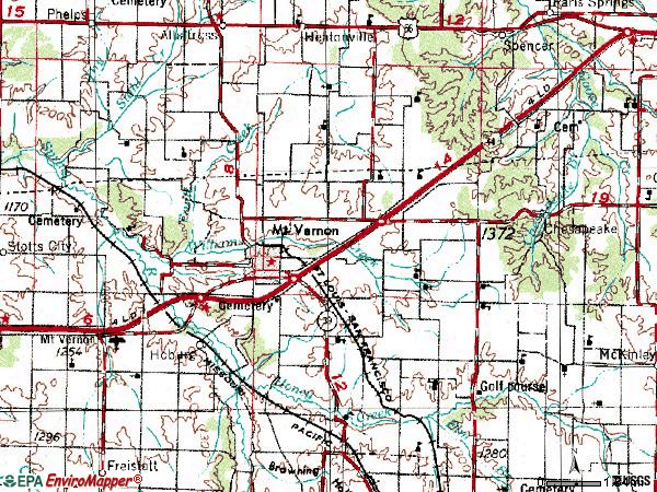 Zip code 65712 topographic map