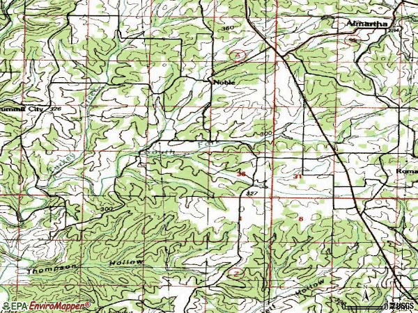 Zip code 65715 topographic map