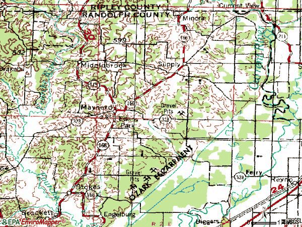 Zip code 72444 topographic map