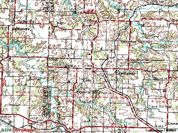 Zip code 65770 topographic map
