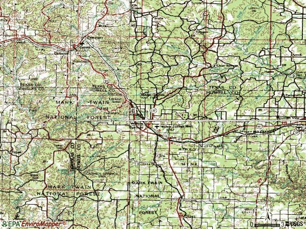 Zip code 65793 topographic map