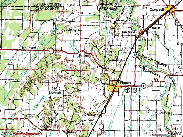 Zip code 72454 topographic map