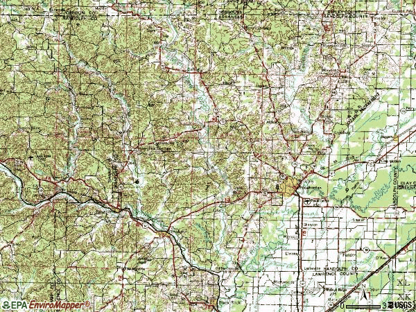 Zip code 72455 topographic map