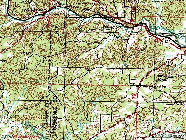 Zip code 72459 topographic map
