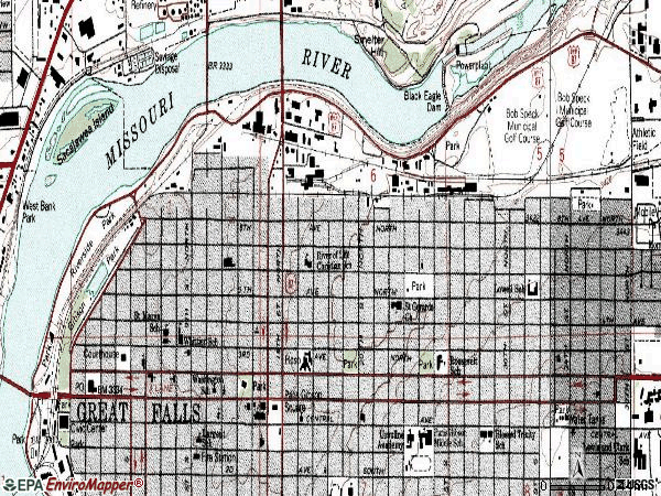 Zip code 59401 topographic map