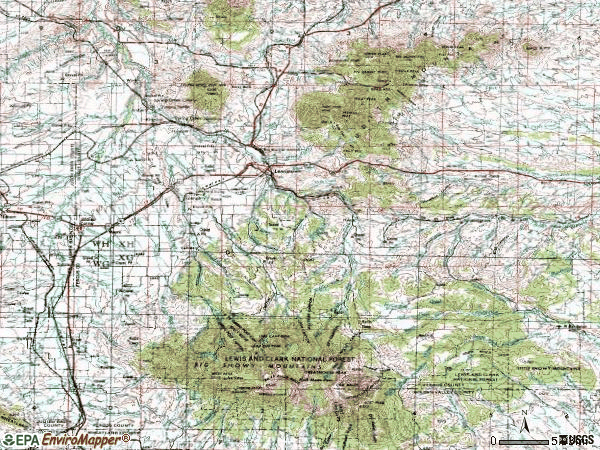 Zip code 59457 topographic map