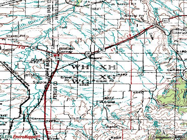 Zip code 59464 topographic map