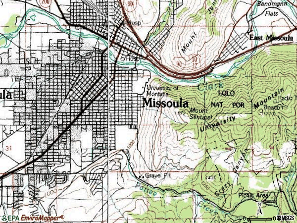 Zip code 59801 topographic map