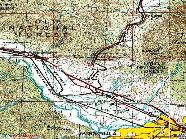 Zip code 59808 topographic map