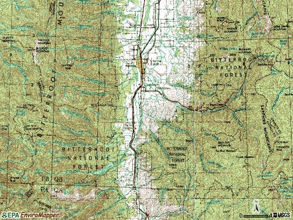 Zip code 59840 topographic map