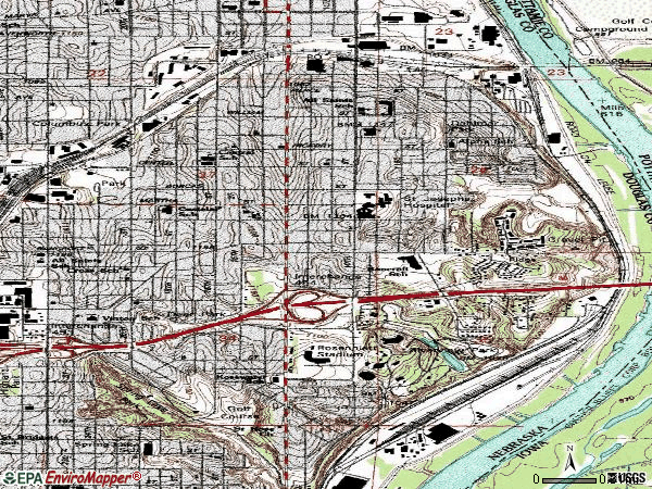 Zip code 68108 topographic map