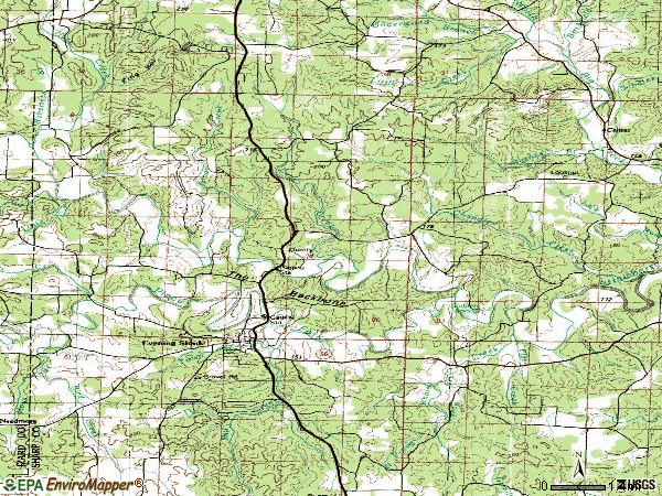 Zip code 72532 topographic map