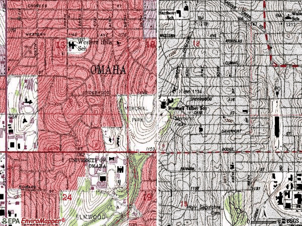 Zip code 68132 topographic map