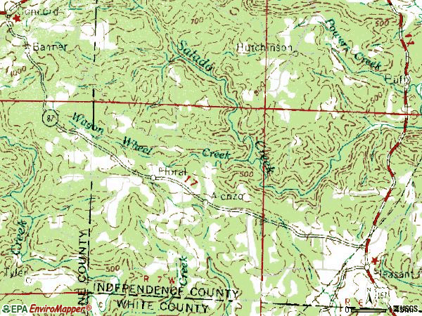 Zip code 72534 topographic map