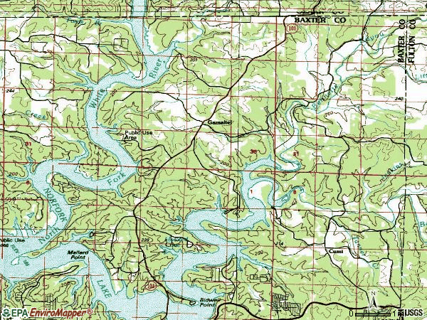 Zip code 72537 topographic map