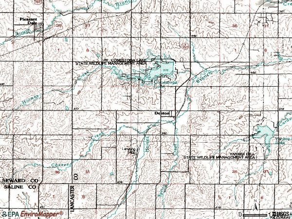 Zip code 68339 topographic map