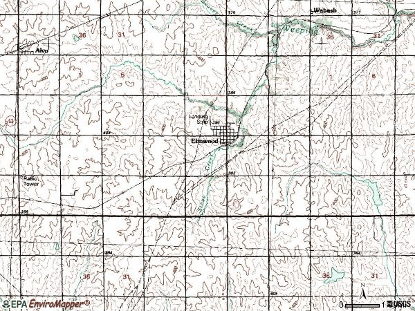 Zip code 68349 topographic map