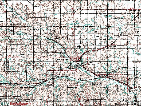 Zip code 68352 topographic map
