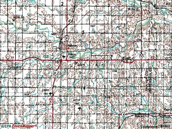 Zip code 68370 topographic map
