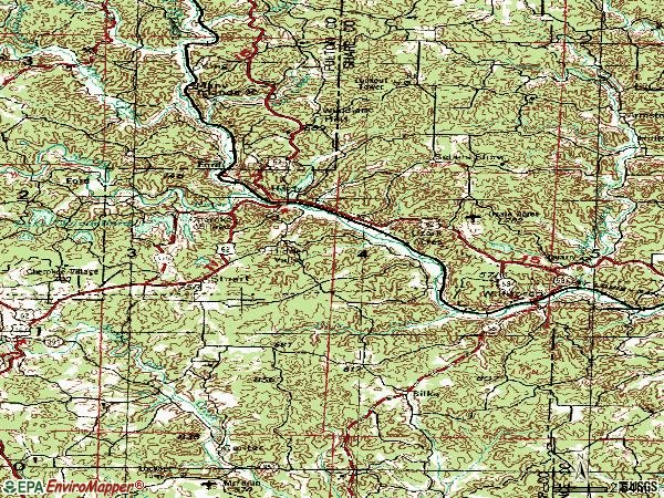 Zip code 72542 topographic map