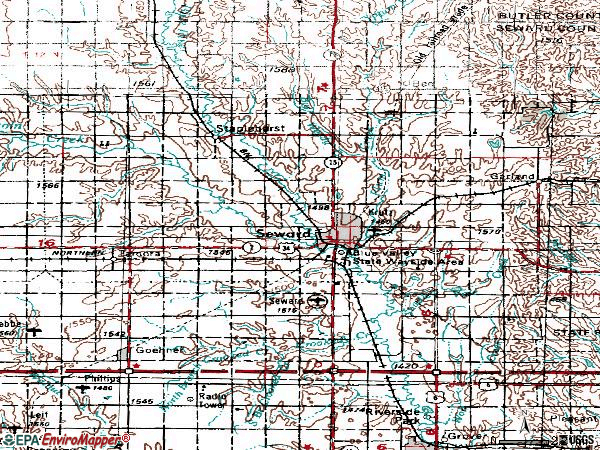 Zip code 68434 topographic map