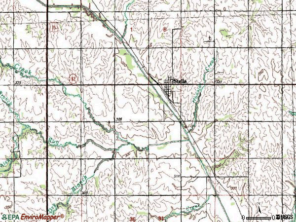 Zip code 68442 topographic map