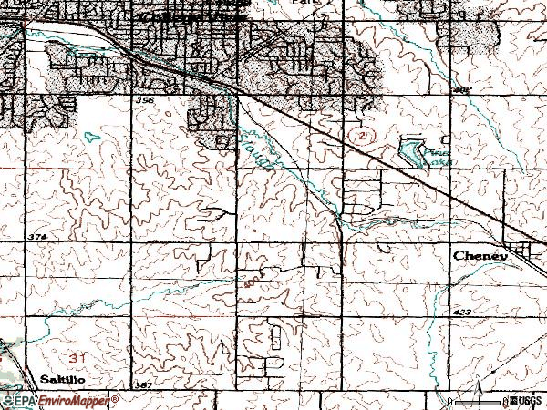 Zip code 68516 topographic map