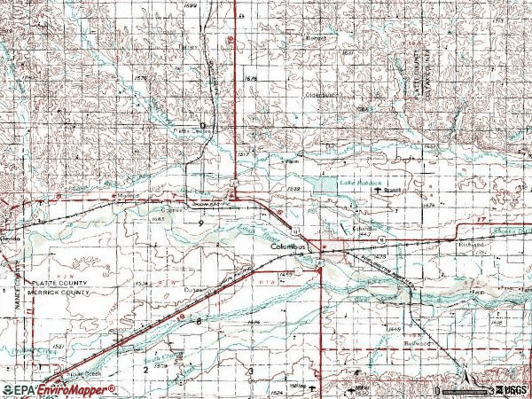 Zip code 68601 topographic map