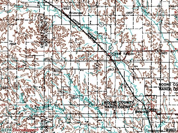Zip code 68627 topographic map