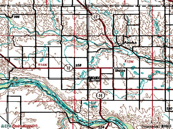 Zip code 68722 topographic map