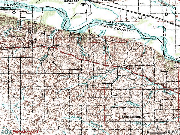 Zip code 68757 topographic map