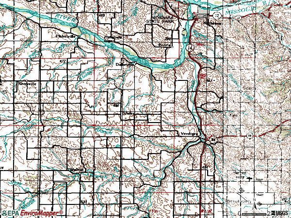 Zip code 68783 topographic map