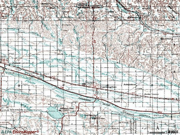 Zip code 68850 topographic map