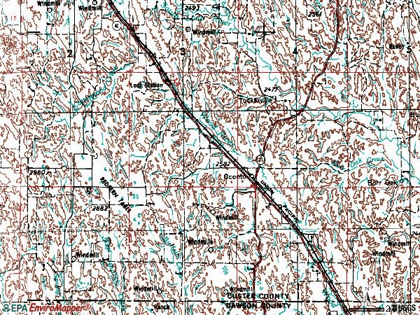 Zip code 68860 topographic map