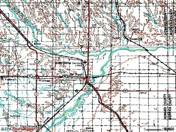 Zip code 68873 topographic map