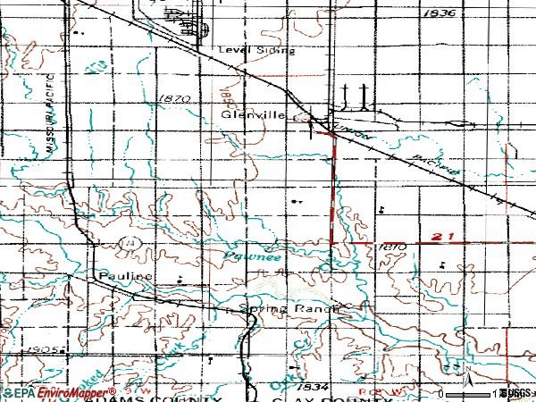 Zip code 68941 topographic map