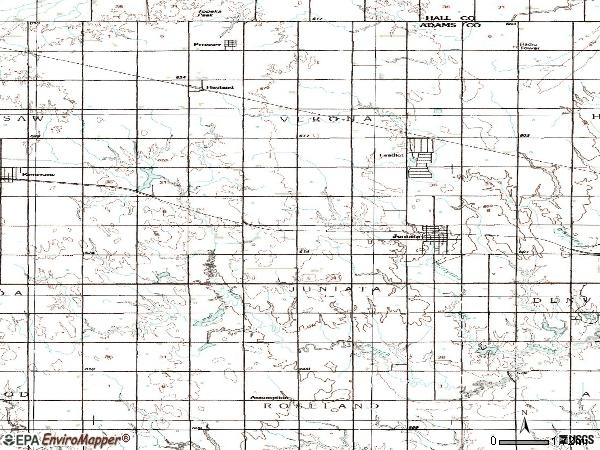 Zip code 68955 topographic map