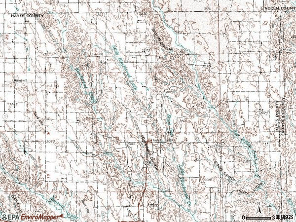 Zip code 69032 topographic map