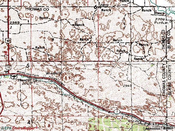 Zip code 69142 topographic map