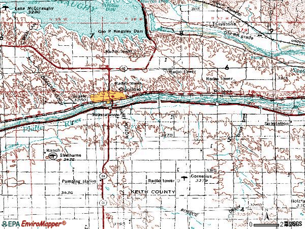 Zip code 69153 topographic map