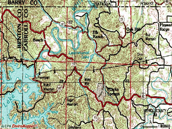 Zip code 72631 topographic map
