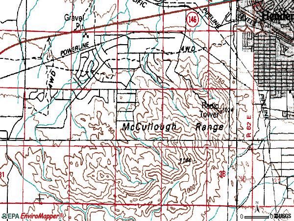 Zip code 89012 topographic map